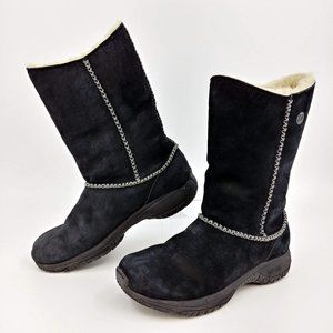Merrell Suede Encore Stitch High Shearling Boots